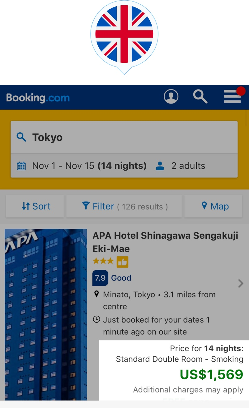 booking price for room NY with VPNCity from UK
